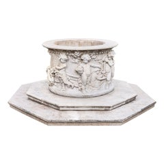 Carrara Marble Wellhead with Intricate Carvings Raised on Octagonal Base, 1920s