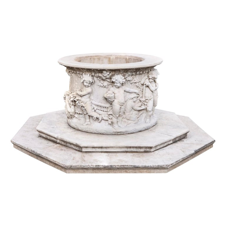 Carrara Marble Wellhead with Intricate Carvings Raised on Octagonal Base, 1920s For Sale