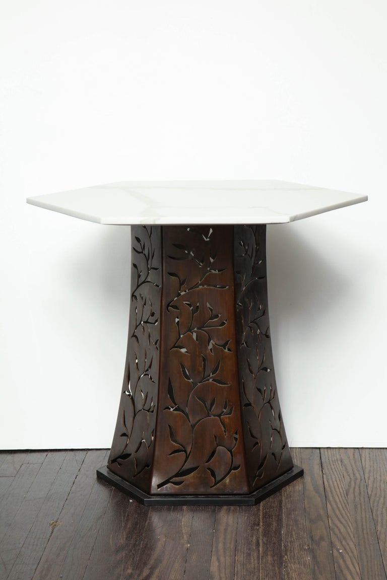 Mid-Century Modern Carrara White Marble Side Table with Patinated Blackened Steel For Sale