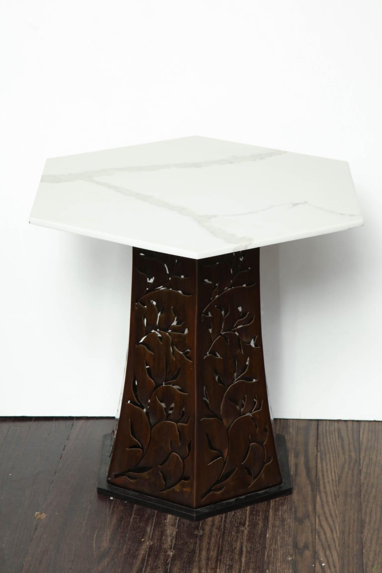 Contemporary Carrara White Marble Side Table with Patinated Blackened Steel For Sale