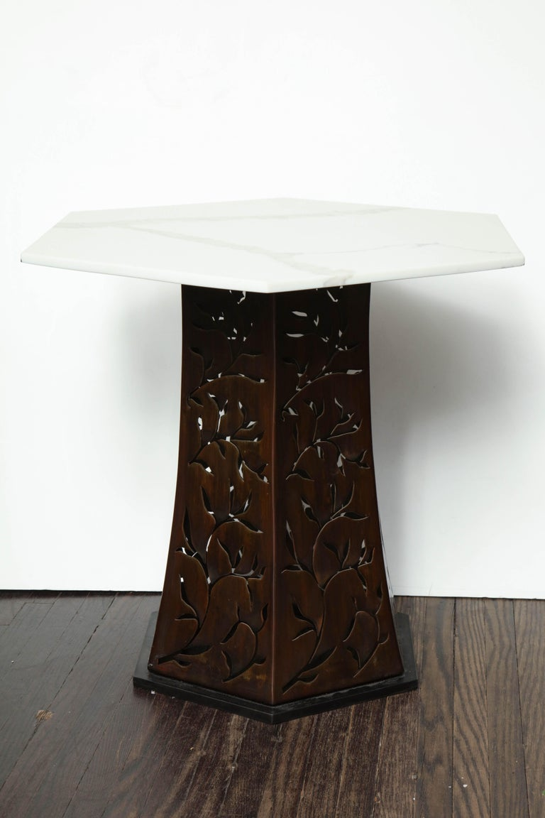Carrara White Marble Side Table with Patinated Blackened Steel For Sale 1