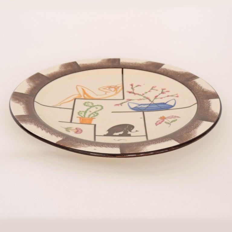 Mid-20th Century Carraresi e Lucchesi, Sesto Fiorentino Italian Art Deco Decorative Plate, 1930s For Sale