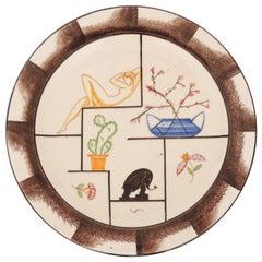 Carraresi e Lucchesi, Sesto Fiorentino Italian Art Deco Decorative Plate, 1930s