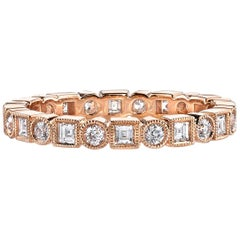 Carre and Single Cut Diamond Eternity Band Set in 18k Gold