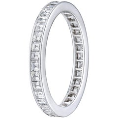 Carre Cut 1.4 Carat Channel Set Diamond Wedding Eternity Band Set in Platinum