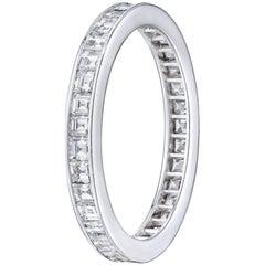 Carre Cut 1.4 Carat Channel Set Diamond Eternity Band Set in Platinum