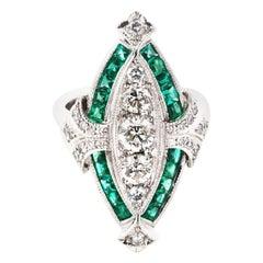 Carre Cut Emerald and White Diamond Art Deco Dress Ring in 18 Karat White Gold
