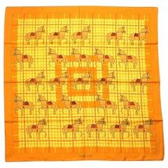 Carre  horse/ lattice pattern  Womens  scarf  orange Leather