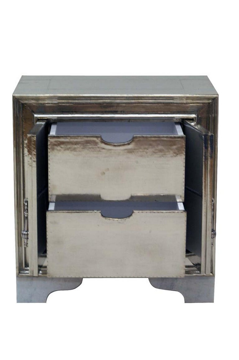 Indian Carre Nightstand in White Bronze For Sale