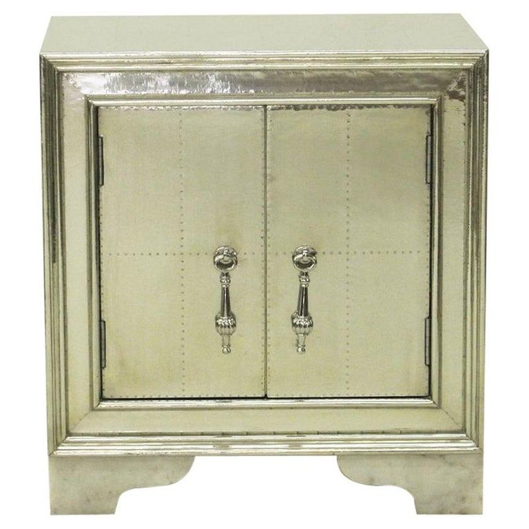 Carre Nightstand in White Bronze For Sale