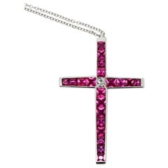 Carrè Ruby and French Cut Diamond Cross Pendant Necklace
