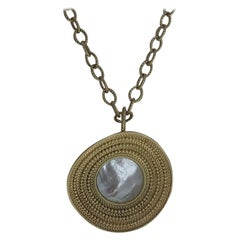 Carrera 18 Karat Gold and Mother of Pearl Ruedo Maxi Pendant Necklace 123.8g