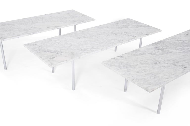 American Carrera Marble Coffee Table, William Katavolos, Ross Littell and Douglas Kelley For Sale