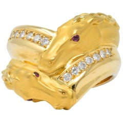 Carrera Y Carrera 0.30 Carat Diamond Ruby 18 Karat Gold Ecuestre Horse Ring