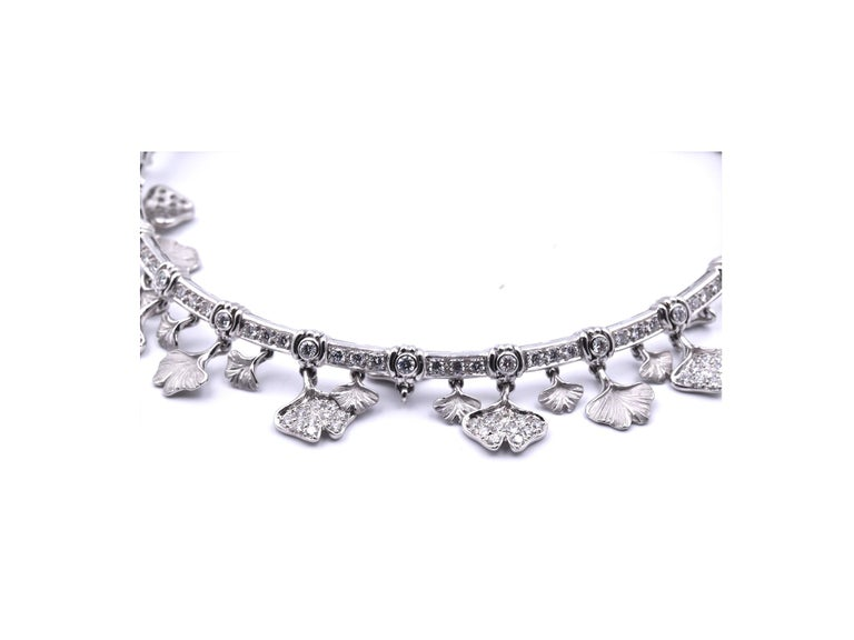 Carrera Y Carrera 14k White Gold Diamond Floral Necklace, Bracelet and Earrings For Sale 6