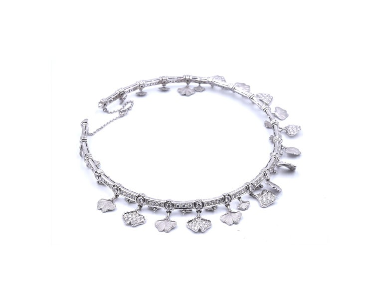 Carrera Y Carrera 14k White Gold Diamond Floral Necklace, Bracelet and Earrings For Sale 7