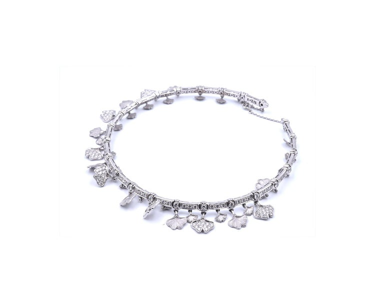 Carrera Y Carrera 14k White Gold Diamond Floral Necklace, Bracelet and Earrings For Sale 8