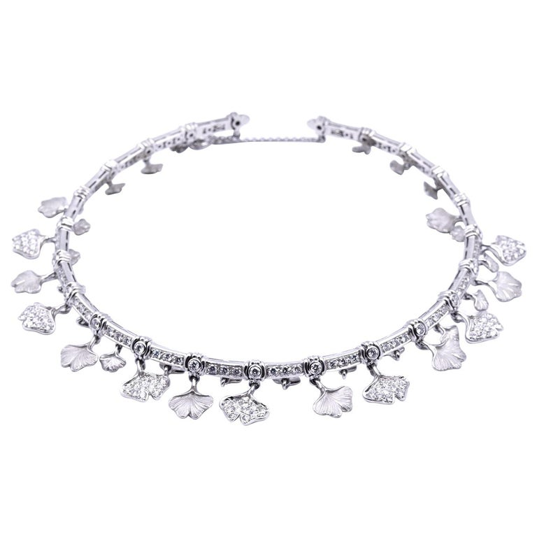 Carrera Y Carrera 14k White Gold Diamond Floral Necklace, Bracelet and Earrings For Sale
