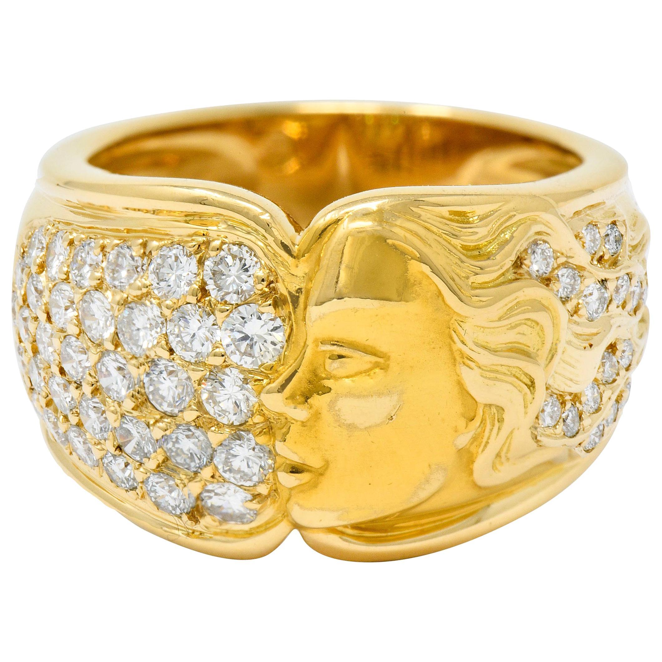 Carrera Y Carrera 1.50 Carat Pave Diamond 18 Karat Gold Promesa Lady Band Ring