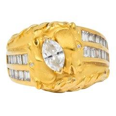 Carrera y Carrera 1.70 Carat Marquise Diamond 18 Karat Gold Ecuestre Horse Ring