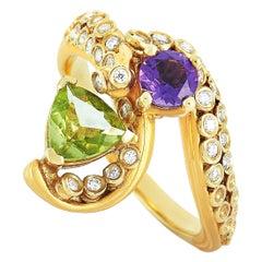 Carrera y Carrera 18 Karat Gold 0.30 Carat Diamond, Amethyst and Peridot Ring
