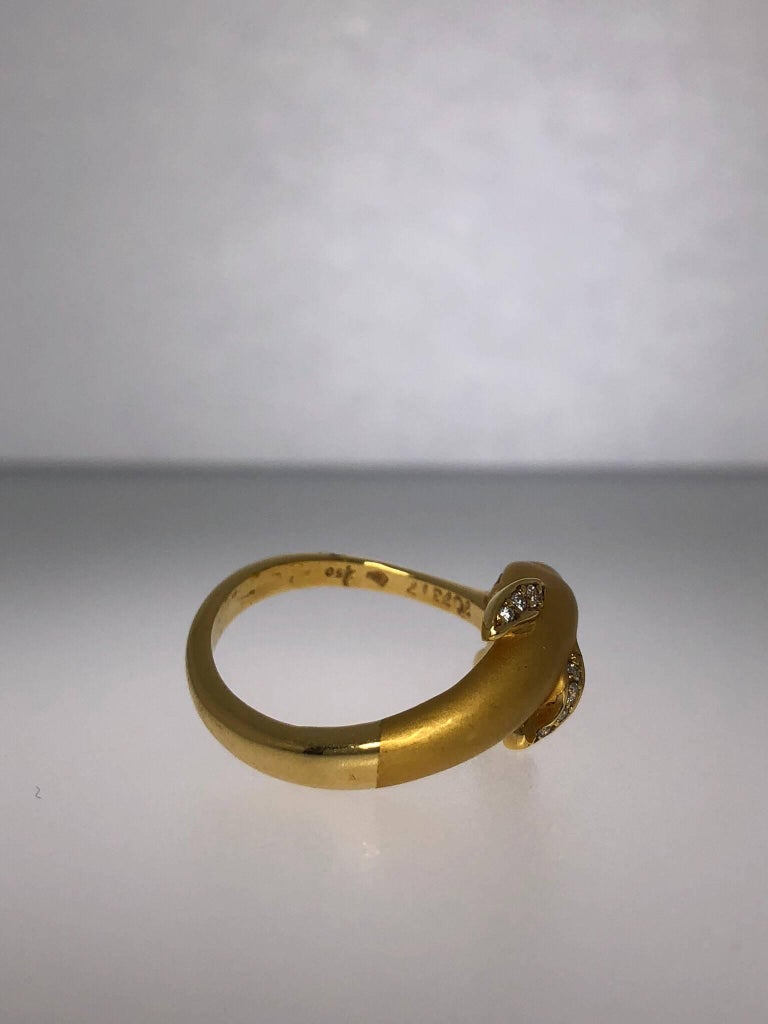 Women's or Men's Carrera y Carrera 18 Karat Gold and Diamond Dolphin Ring For Sale