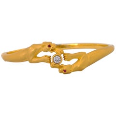 Carrera Y Carrera 18 Karat Gold and Diamond Double Panther Bangle Bracelet