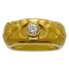 Carrera y Carrera 18 Karat Gold Double Lions Head Ring with .21 Carat Diamond