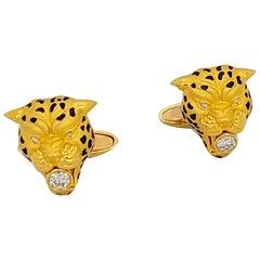 Carrera Y Carrera 18 Karat Gold Leopard Head Cufflinks with Enamel and Diamond