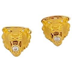 Carrera y Carrera 18 Karat Gold Lions Head Cufflinks with .36 Carat Diamonds