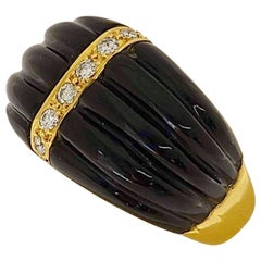 Carrera Y Carrera 18 Karat Gold Ring with Black Onyx and .47 Carat Diamonds
