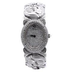 Carrera Y Carrera 18 Karat White Gold Pave Diamond Panther Link Watch