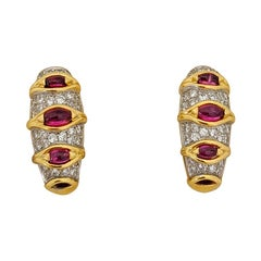 Carrera Y Carrera 18 Karat Yellow Gold, 1.74 Carat Ruby and Diamond Earrings