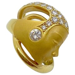 Carrera y Carrera 18 Karat Yellow Gold and Diamonds Art Deco Style Head Ring