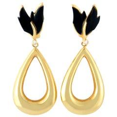 Carrera y Carrera 18 Karat Yellow Gold Diamond and Onyx Earrings