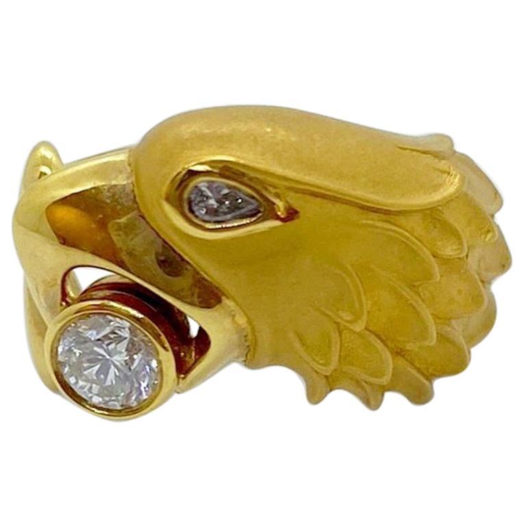 Carrera Y Carrera 18 Karat Yellow Gold Eagle Ring with .35 Carat Diamond