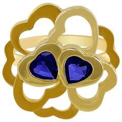 Carrera y Carrera 18 Karat Yellow Gold Flower Iolite Ring