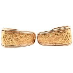 Carrera y Carrera 18 Karat Yellow Gold Half Hoop Horse Earrings