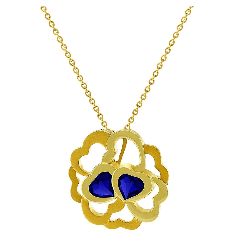 Carrera y Carrera 18 Karat Yellow Gold Iolite Heart Necklace