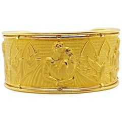 "Carrera Y Carrera 18 Karat Yellow Gold ""Romeo & Juliet"" Cuff Bracelet"