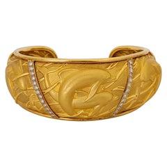 "Carrera Y Carrera 18 Karat YG ""Mosaico"" Dolphin Cuff Bracelet with Diamonds"