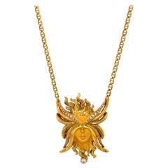 Carrera y Carrera 18 Kt Yellow Gold Diamond 0.16ct. Woman with Mask Pendant