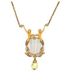 Carrera Y Carrera 18 KT Yellow Gold Diamond Mermaid Pendant w/ Pear Green Quartz
