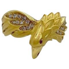 Carrera y Carrera 18 Karat Yellow Gold Eagle Ring with Diamonds