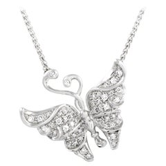 Carrera y Carrera 18K White Gold and 0.37 Ct Diamond Butterfly Pendant Necklace