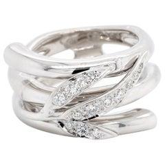 Carrera y Carrera 18 Karat White Gold Diamond Bambu Zen Maxi Ring