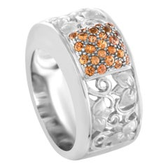 Carrera y Carrera 18 Karat White Gold Sapphire Band Ring