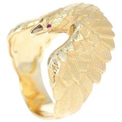 Carrera y Carrera 18 Karat Yellow Gold and Ruby Eagle Ring