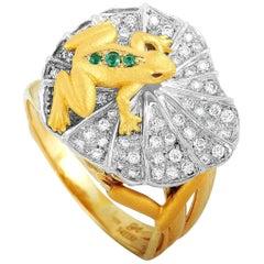 Carrera y Carrera 18K Yellow/White Gold 0.39 ct Diamond, Ruby and Emerald Ring