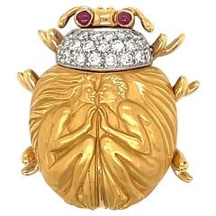Carrera Y Carrera 18KT Yellow Gold .38Ct Diamond Scarab Brooch with .06Ct Rubies
